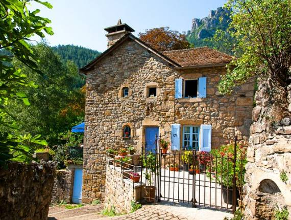 Beautiful house in Florac, Cevennes National Park in Occitanie in France. August 9, 2020